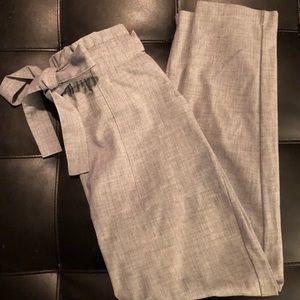 Gray Paper-bag Dress Pants